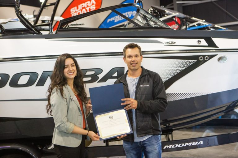 Owner Brent Lemcke and Briana Gonzalez from Congressman Josh Harder's Office